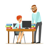 Woman Sitting At Her Desk Talking With Male Colleague, Part Of Office Workers Series Of Cartoon Characters In Official. Clothing. Happy Person Working In The Stock Photography