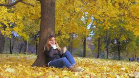 Woman Sitting With His Back To Tree In Yellow Autumn Leaves, Talking Smartphone. Lovely young brunette woman sitting with her back to the tree on the yellow stock video footage