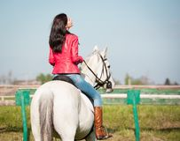 Woman sitting  horse. Day. Half height. Red leather jacket. Back Stock Photos