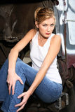 Woman sitting inside truck Stock Photos