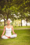 Woman sitting in lotus pose Stock Photos
