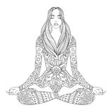 Woman sitting in lotus pose.  Vector ornate girl silhouette for Royalty Free Stock Photos
