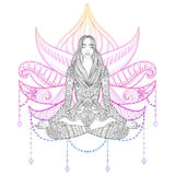 Woman sitting in lotus position on color background.  Vector orn Royalty Free Stock Photography