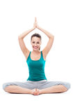 Woman sitting in lotus position Royalty Free Stock Photography