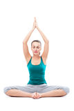 Woman sitting in lotus position Stock Photos