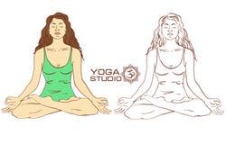 Woman sitting on lotus yoga pose Stock Image