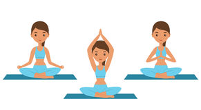 Woman sitting in lotus yoga pose. Vector illustration. Royalty Free Stock Images