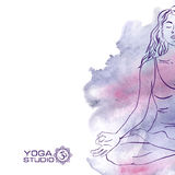 Woman sitting in the lotus yoga pose stock illustration