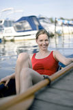 Woman sitting in paddle boat Royalty Free Stock Images