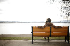 Woman sitting on park bench. Stock Image