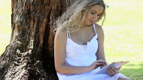 Woman sitting in a park using an ebook Royalty Free Stock Photos