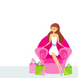 Woman sitting in a pink chair royalty free illustration