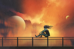 Woman sitting on railing looking at beautiful sky. Woman in futuristic suit sitting on railing looking at beautiful night sky, illustration painting Stock Photo