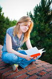 Woman sitting and reading Stock Photography