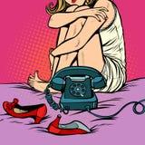 Woman sitting at a retro phone royalty free illustration