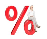 Woman Sitting On % Sale Sign Stock Photography