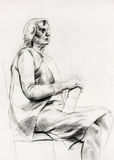 Woman sitting sketch Stock Photography