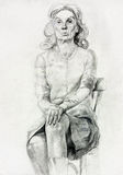 Woman sitting sketch Royalty Free Stock Photography