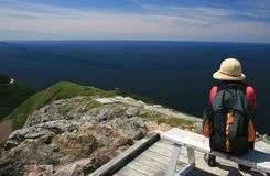 Woman Sitting at Skyline Trail Stock Image