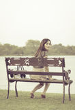 Woman sitting and smile Royalty Free Stock Photos