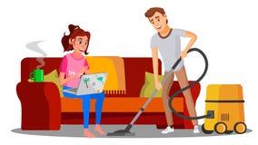Woman Sitting On Sofa With Book, Man Vacuuming Floor Vector. Illustration vector illustration