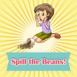 Woman sitting beside spilt beans. Illustration vector illustration