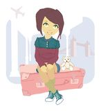 Woman sitting on suitcase Royalty Free Stock Image