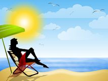Woman Sitting on Summer Beach. An illustration featuring a sunny summer beach scene with water, sand, sun, gulls and a woman sitting with umbrella Royalty Free Stock Image