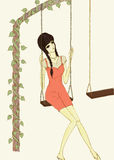 Woman sitting on swing illustration Stock Images