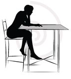 Woman sitting at the table Royalty Free Stock Photos