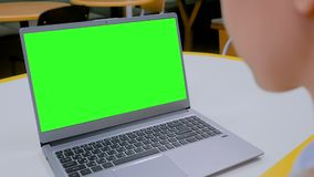 Woman looking at laptop computer with blank green screen in cafe. Woman sitting at table and looking at grey laptop computer device with blank green screen in stock footage