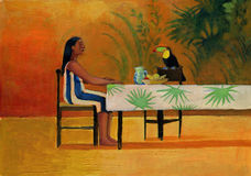 Woman sitting at the table with a toucan Royalty Free Stock Images