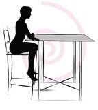 Woman sitting at the table Stock Photos