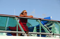 Woman Sitting on the Top Deck Royalty Free Stock Image