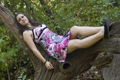 Woman Sitting on Tree Branch Stock Photo