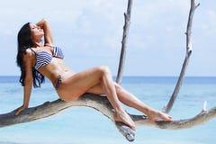 Woman sitting on tree near sea stock photos