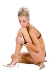 Woman sitting in underwear Royalty Free Stock Images