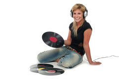 Woman sitting with vinyl records Royalty Free Stock Photos