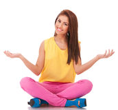 Woman sitting and welcoming to relax Stock Images