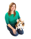 Woman Sitting With Welsh Corgi Dog Stock Photos