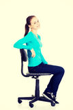 Woman sitting on a wheel chair. Royalty Free Stock Photos