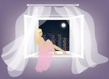 Woman sitting on the window. Sad lonely blonde woman sitting on window and enjoying night city landscape stock illustration