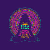 Woman Sitting In Yoga Lotus Pose And Mandala Design. Stock Photography