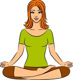 Woman sitting in yoga lotus position. Stock Image