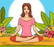 Woman sitting in yoga lotus position. Royalty Free Stock Photo