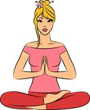 Woman sitting in yoga lotus position. vector illustration