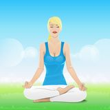 Woman sitting in yoga lotus position closed eyes Royalty Free Stock Image