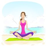 Woman sitting in yoga lotus position closed eyes. Relaxing doing exercises vector illustration Stock Photos