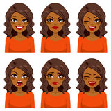 Woman Six Face Expressions Royalty Free Stock Photo