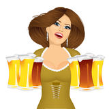 Woman with six froth beer mugs Royalty Free Stock Photography
